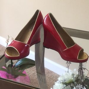 Gorgeous Ruby Red Heels with Gold Trim